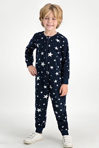 Roly Poly Stars Yıldızlı Erkek Çocuk Polar Tulum Lacivert